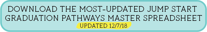 DOWNLOAD THE MOST-UPDATED JUMP START  GRADUATION PATHWAYS MASTER SPREADSHEET UPDATED 8/8/18
