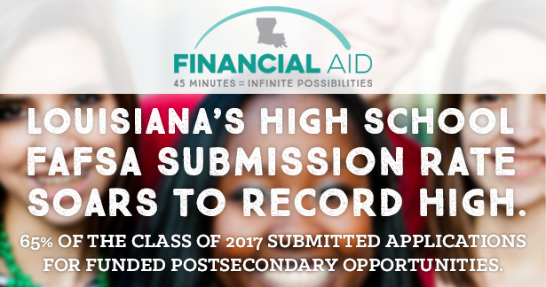 Louisiana's High School FAFSA Submission Rate Soars to Record High - 65% of the class of 2017 submitted applications for funded postsecondary opportunities.