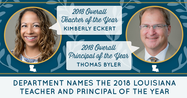 Department Names the 2018 Louisiana Teacher and Principal of the Year