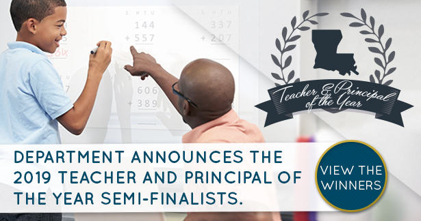 Department announces the 2019 Teacher and Principal of the Year semi-finalists. View the winners.